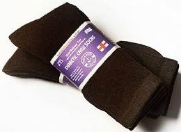 3 Bulk Yacht & Smith Women's Cotton Diabetic Non-Binding Crew Socks - Size 9-11 Brown