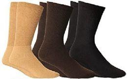 3 Bulk Yacht & Smith Men's Cotton Diabetic Non-Binding Crew Socks - Size 10-13 Assorted Brown