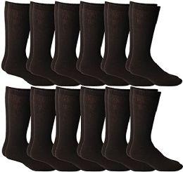 12 Bulk Yacht & Smith Men's Cotton Diabetic Non-Binding Crew Socks - Size 10-13 Brown