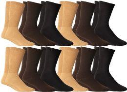 12 Bulk Yacht & Smith Men's Cotton Diabetic Non-Binding Crew Socks - Size 10-13 Assorted Brown