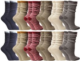 24 Bulk Yacht & Smith Slouch Socks For Women, Assorted Colors Size 9-11 - Womens Crew Sock