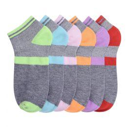 216 Bulk Girls Printed Casual Spandex Ankle Socks Size 6-8