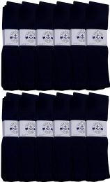 36 Bulk Yacht & Smith Men's Navy Cotton Terry Athletic Tube Socks, Size 10-13