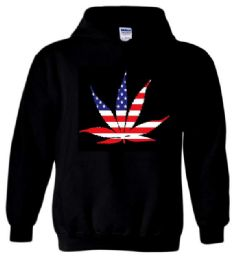 12 Bulk AMERICAN POT LEAF Black Color Hoody