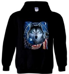 6 Bulk Black Hoody WOLF DREAM FLAG PLUS size