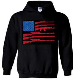 6 Bulk Black Color Hoody GUN FLAG Plus Size