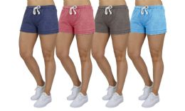72 Bulk Women's Soft Fleece Lounge Shorts Assorted Sizes In Light Blue