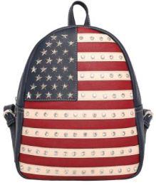 2 Bulk Montana West Rhinestone USA Flag Backpack Navy