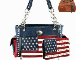 2 Bulk Montana West American Flag Collection Concealed Carry Satchel