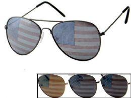 24 Bulk USA Flag Assorted Aviator Sunglasses