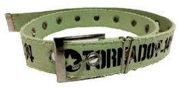 72 Bulk Green Color One Hole Cotton Belt assorted size