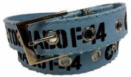 72 Bulk Blue Color One Hole Cotton Belt Assorted Size
