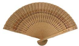 72 Bulk Wood Fan With Flower design