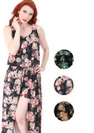 12 Bulk Walk Thru Style Maxi Dress Assorted Colors and Size
