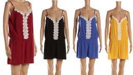 12 Bulk Solid Spaghetti Strap Jump Shorts With Lace Center