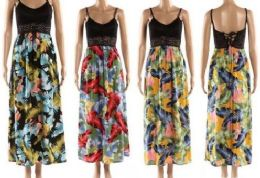 12 Bulk Crochet Spaghetti Strap Top Feather Floral Dresses