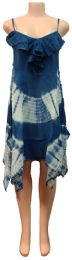 12 Bulk Indian Rayon Dress with Ruffle Bottoms Blue Color
