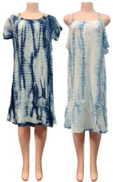 12 Bulk Indian Rayon Tie Dye Dress with Short Sleeves