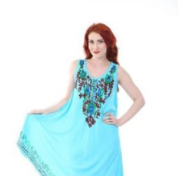 12 Bulk Rayon Solid Heavy Multicolor Embroidery Dress