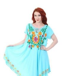 12 Bulk Rayon Soild Color Multicolor Embroidery Dress Assorted