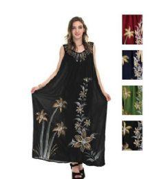 12 Bulk Rayon Long Straight Dress Solid Dye Brush Paint