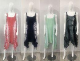 12 Bulk Rayon Tie Dye Color Asymmetric Cut Dress