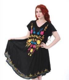 12 Bulk Black Rayon Dress Assorted Patterns
