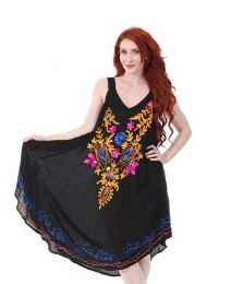 12 Bulk Rayon Black U Tank Dress Assorted Pattern