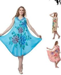 12 Bulk Rayon Solid Color Dress with Brush Painted Design