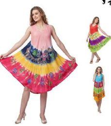 12 Bulk Rayon Tie Dye Color Brush Painted Designs