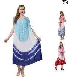 12 Bulk Tie Dye Rayon Straight Gown Plus Size