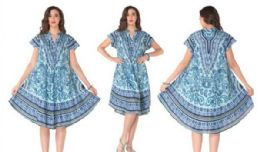 12 Bulk Rayon Printed Dress with Placket 1 Color