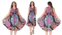 12 Bulk Rayon Printed Dress with Zipper 1 Color