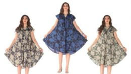 12 Bulk Rayon Printed Dress With Placket Assorted Colors