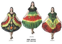 12 Bulk Rayon Short Sleeve Tie Dye Dress Assorted Rasta Colors