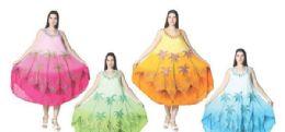 12 Bulk Rayon Crape Dress Tie Dye Brush Paint Assorted Colors