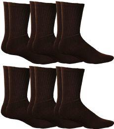 6 Bulk Yacht & Smith Women's Sports Crew Socks, Size 9-11, Brown