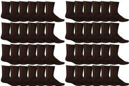 48 Bulk Yacht & Smith Women's Sports Crew Socks, Size 9-11, Brown