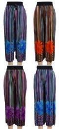 24 Bulk Multicolor Verticle Stripe with Flower Summer Pants
