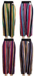 24 Bulk Multicolor Verticle Stripe Summer Pants Assorted Colors