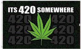 24 Bulk Its 420 somewhere Marijuana Leaf Graphic Flags