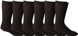 6 Bulk Yacht & Smith Men's King Size Loose Fit Non-Binding Cotton Diabetic Crew Socks (Brown King Size 13-16)