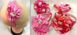 96 Bulk Lace With Polka dot Kitty Head Band
