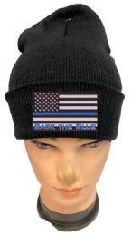 36 Bulk Black color Winter Beanie Black the Blue USA Flag