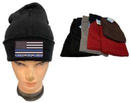 36 Bulk Assorted color Winter Beanie Black the Blue USA Flag