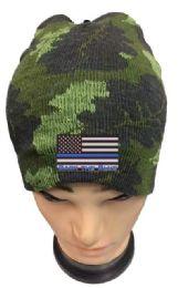 36 Bulk Camo color Winter Beanie Black the Blue USA Flag
