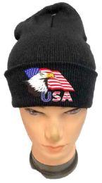 36 Bulk Black color Winter Beanie Eagle USA Flag
