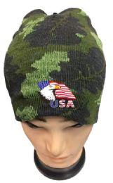 36 Bulk Camo Color Winter Beanie Eagle USA Flag