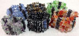 48 Bulk Wraped Magnetic Hematite Necklace Bracelet With Natural Stone