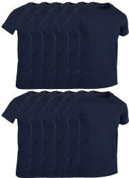 12 Bulk Mens Navy Blue Cotton Crew Neck T Shirt Size Small